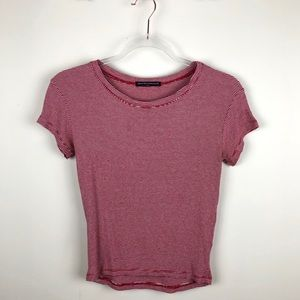 Brandy Melville Red & White Striped Tee Shirt Sml
